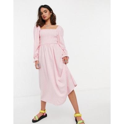 ニュールック New Look レディース ワンピース ミドル丈 ワンピース・ドレス Shirred Midi Dress In Pink Gingham ピンクパターン