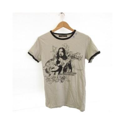 【中古】vanana gold label lag カットソー Tシャツ 半袖 プリント グレー L *E183 メンズ 【ベクトル 古着】