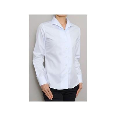 レディース シャツ ビジネス ワイシャツ ブラウス 長袖 イタリアンカラー 綿100% 100番手 プレミアムコットン イージーケア 日本製 ナチュラルフィット トップス