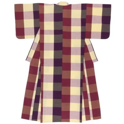 洗える着物 木綿着物 レディース 伊勢木綿 天然素材 ブロックチェック 単衣着物 パープル クリーム 綿 カジュアル 単品 仕立て上がり 和装 女性用 送料無料