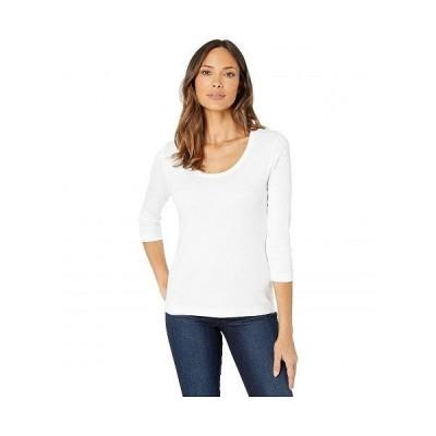 Lilla P リラP レディース 女性用 ファッション Tシャツ 1X1 3/4 Sleeve Scoop Neck Tee - White