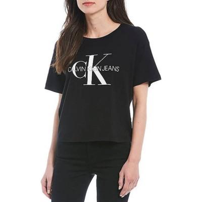 カルバンクライン レディース Tシャツ トップス Foil Monogram Logo Short Sleeve Boyfriend T-Shirt