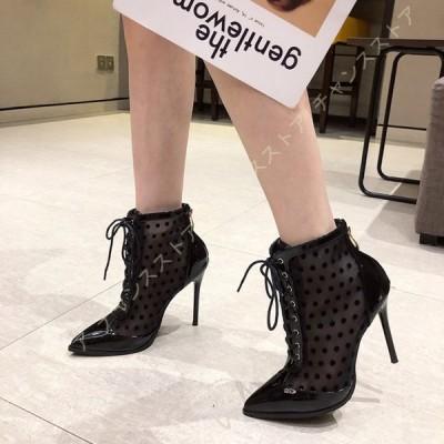 ブーツ サマーブーツ レディース サンダル 夏 ショートブーツ メッシュ ブーツ シースルー 通気 蒸れない ハイヒール 上品 スタイルアップ 疲れない 美脚