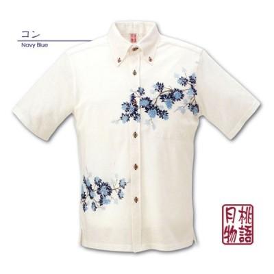 かりゆしウェア 沖縄 日本製ポロシャツ 月桃物語 GP1800 メンズ <デイゴパネル柄> ボタンダウン
