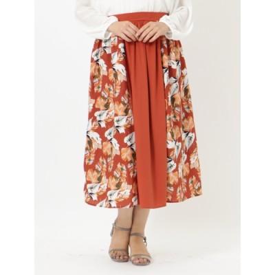 【大きいサイズ】ボタニカル柄配色ロング丈スカート 大きいサイズ スカート レディース