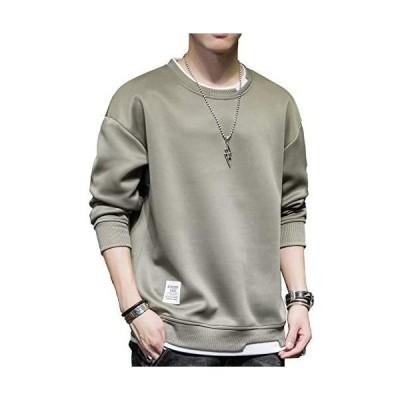 2020新品 tシャツ メンズ 長袖 パーカー 秋服 綿 無地 軽い 柔らかい シルエット おしゃれ ファッション トレーナー(オリーブ XL)