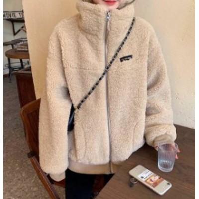ボアジャケット アウター ハイネック ゆったり カジュアル もこもこ 防寒 秋冬 韓国 オルチャン ファッション