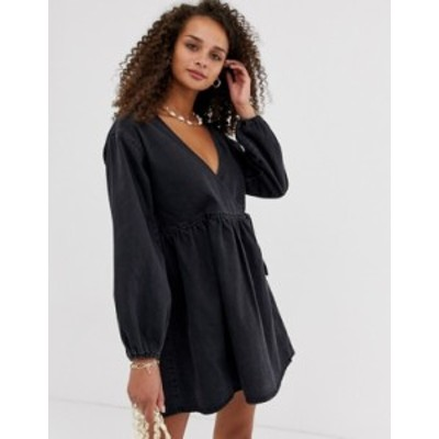 エイソス レディース ワンピース トップス ASOS DESIGN denim wrap smock mini dress in black Black