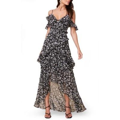 アストール ワンピース トップス レディース High/Low Tiered Ruffle Maxi Dress Black-White Multi Floral