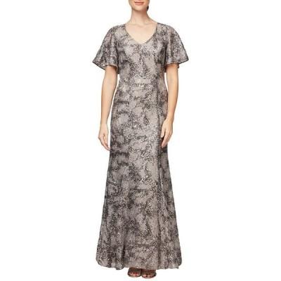 アレックスイブニングス レディース ワンピース トップス V-Neck Flutter Sleeve Sequin Lace Gown Taupe