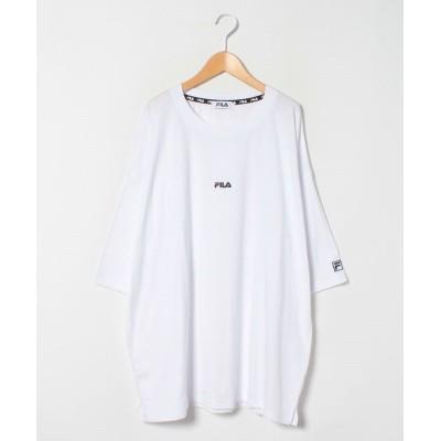 【大きいサイズのマルカワ】 フィラ 大きいサイズ ビッグシルエット ミニロゴ刺繍 半袖Tシャツ ユニセックス ユニセックス ホワイト 4L MARUKAWA
