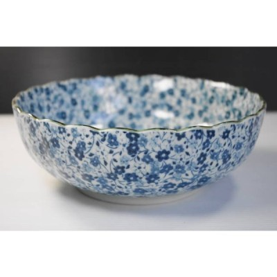 KB112藍染小花17cm菊型55ボール・煮物鉢★アウトレット品★