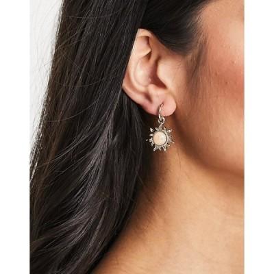 エイソス レディース ピアス・イヤリング アクセサリー ASOS DESIGN hoop earrings with opal sun charm in gold tone