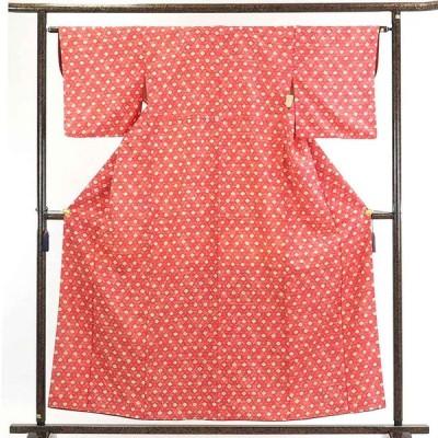 リサイクル着物 小紋 正絹ピンク地絞り柄袷小紋着物