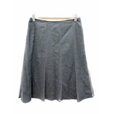 【中古】ナチュラルビューティーベーシック NATURAL BEAUTY BASIC スカート フレア ひざ丈 切替 ウール M グレー /AU