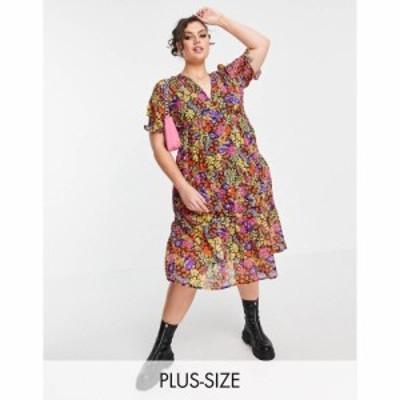 インフルエンス Influence Plus レディース ワンピース ワンピース・ドレス tie cross back midi dress in floral print マルチカラー