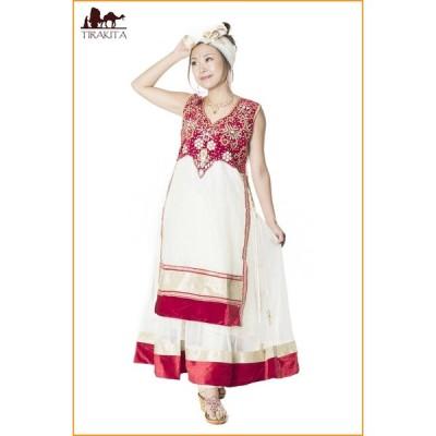 送料無料 パーティードレス コスプレ インドのドレス サフェードのパンジャビドレス 3点セット 白×赤