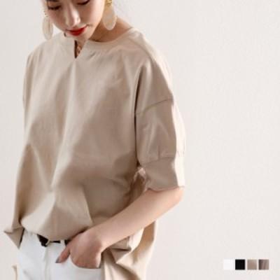 メール便送料無料 キーネック ビッグTシャツ ビッグシルエット ワンピース 綿100% 大きいサイズ トップス 夏 cl5014