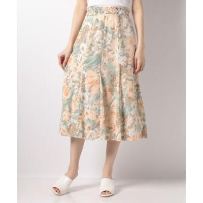 (Karl Park Lane/カールパークレーン)水彩花柄プリントマチ付スカート/レディース オレンジ