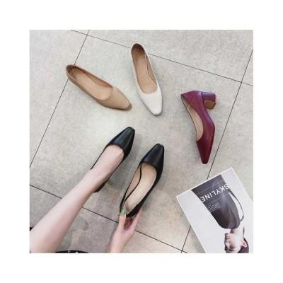 牛革 レザーシューズ リクルートパンプス レディースパンプス ハイヒール 美脚 ヒール5cm 通気性 シンプル 快適 通勤 女性用靴