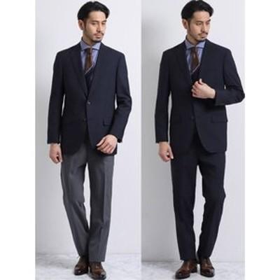 ウール混ドッツ コーディネート2パンツ レギュラーフィット2釦スーツ 紺チェック