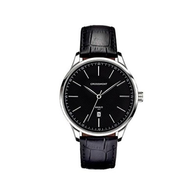 Crossmont Men's Quartz Watch Classic 40.9mm with Black Dial Analogue Display and Black Leather Strap 0110505 並行輸入品