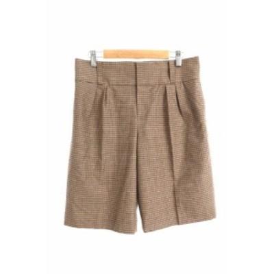 【中古】アンタイトル UNTITLED パンツ ショート ジップフライ チェック 2 茶 ブラウン /JN31 レディース