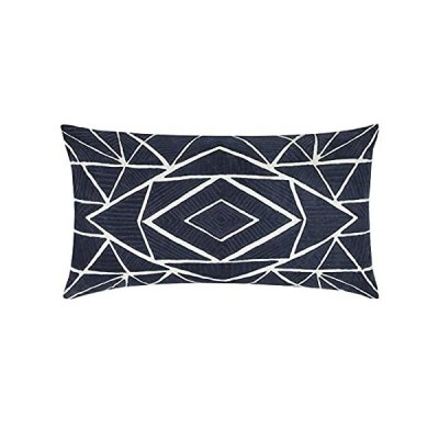 Rizzy Home T12359 装飾腰掛けスロー枕カバー 14インチ x 26インチ ブルー/ホワイト