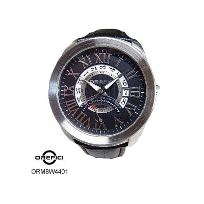 オレフィッチ 腕時計 OREFICI ORM8W4401 黒文字盤 黒革ベルト クオーツ メンズ
