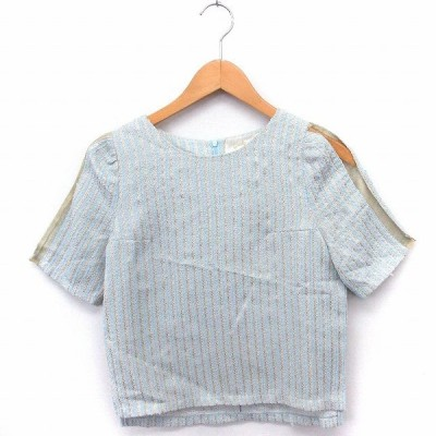 【中古】Omekashi シャツ ブラウス ストライプ 袖透け 丸首 半袖 F ライトブルー /FT49 レディース 【ベクトル 古着】
