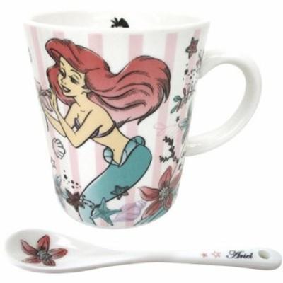◆スプーン付き キラキラマグカップ アリエル ディズニー プリンセス(贈り物、お土産,キャラクターグッツ通販、アニメキャラ)(197)