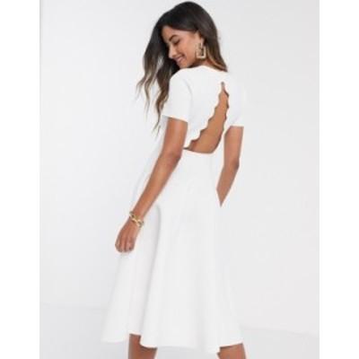 エイソス レディース ワンピース トップス ASOS DESIGN scallop tshirt midi skater dress in white White