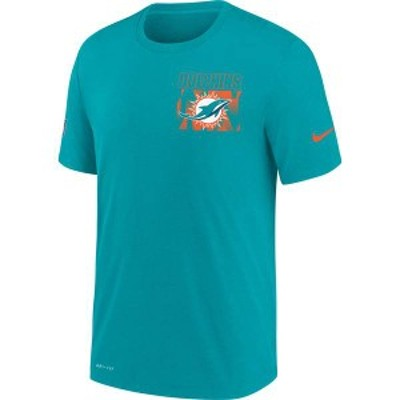 ナイキ メンズ Tシャツ トップス Nike Men's Miami Dolphins Sideline Dri-FIT Cotton Facility Aqua T-Shirt