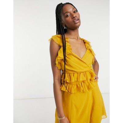 エイソス レディース ワンピース トップス ASOS DESIGN tiered ruffle mini dress with tie back in mustard
