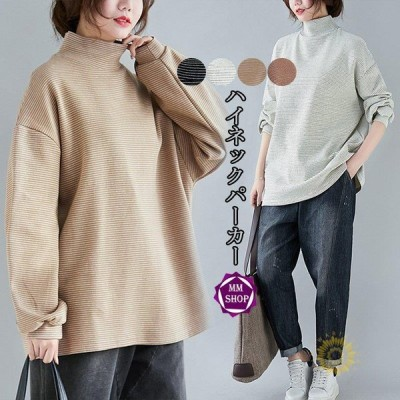 トップス ブラウス レディース tシャツ カットソー パーカー 40代 無地 チュニック 大きいサイズ ハイネック 秋 春 体型カバー 長袖 ゆったり アウター 50代