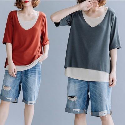 大きいサイズXL-3XL ファッショントップス グレー/アカ2色展開