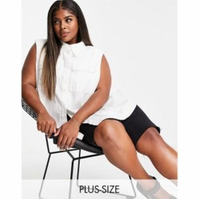 オンリーカーブ Only Curve レディース ノースリーブ トップス sleeveless oversized shirt with pocket detail ホワイト