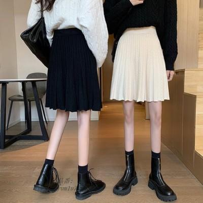 2COLORレディースAライン 学院風 ニットミニースカート ショート 台型 カジュアル 可愛い 春秋作 プリーツスカート おしゃれ