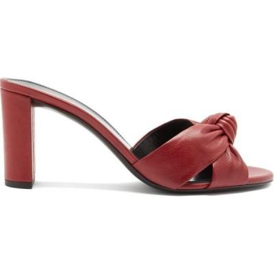 イヴ サンローラン Saint Laurent レディース サンダル・ミュール シューズ・靴 Bianca knotted leather mules Cherry red