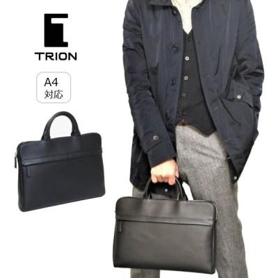 ビジネスバッグ 本革 薄マチ TRION トライオン バッグ A4 ブリーフケース ドキュメントケース SA112 ブラック 黒 メンズ レディース