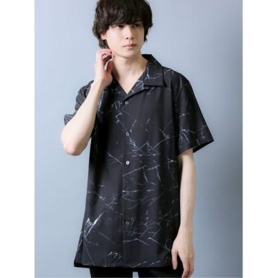 シャツ ブラウス シェラック/SHELLAC オープンカラー総柄半袖シャツ