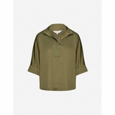 テッドベーカー TED BAKER レディース ベアトップ・チューブトップ・クロップド トップス Cropped-sleeve stretch-cotton shirt DK/GREEN