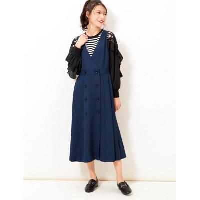 【大きいサイズ】 サイドプリーツジャンパースカート ワンピース, plus size dress