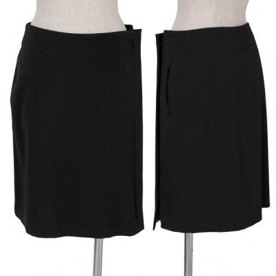 ワイズY's ウールギャバジップアップラップスカート 黒2 【レディース】