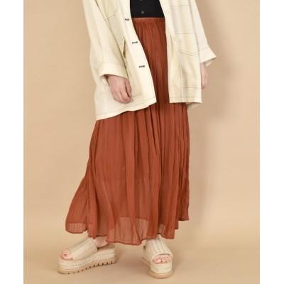 【ダブルクローゼット】 シフォン楊柳ワッシャーロングスカート レディース レンガ FREE w closet
