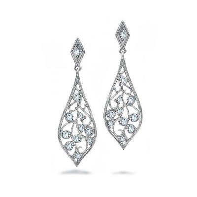 ブリング ジュエリー Bling Jewelry .925 スターリング シルバー CZ Filigree Dangle Teardr(海外取寄せ品)
