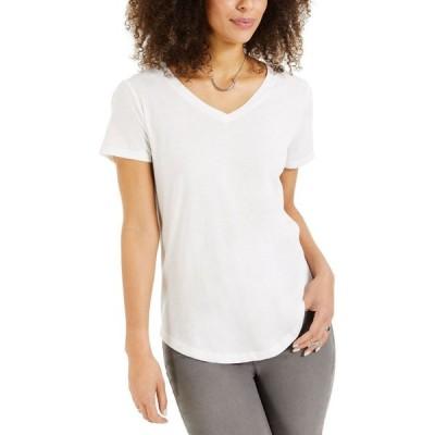 スタイル&コー Style & Co レディース Tシャツ Vネック トップス Burnout V-Neck T-Shirt Bright White