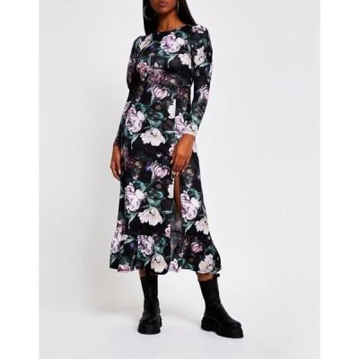 リバーアイランド レディース ワンピース トップス River Island gathered sleeve floral midi dress in black