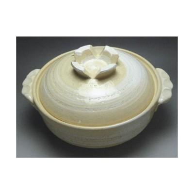 白刷毛目 深鍋7号(1〜2人用)日本製萬古焼土鍋(1〜2人用)【日本製萬古焼土鍋】