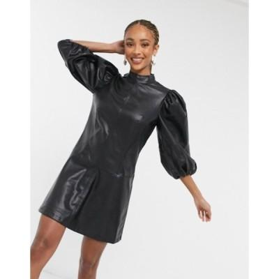 トップショップ レディース ワンピース トップス Topshop IDOL faux leather extreme sleeve mini dress in black